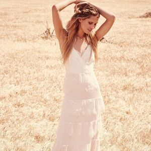 Free People Women's Tiered Lace Maxi Wedding Dress